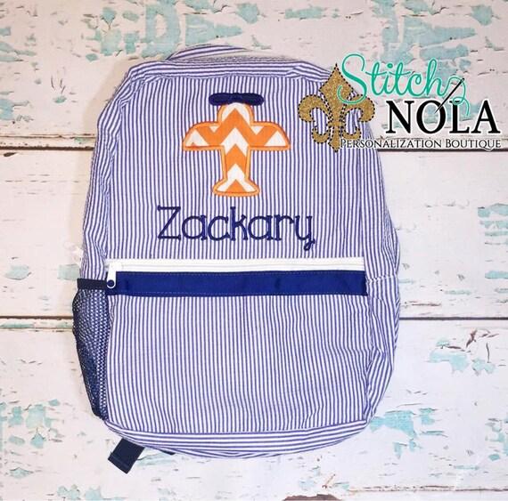 Seersucker Backpack with Airplane, Seersucker Diaper Bag, Seersucker School Bag, Seersucker Bag, Diaper Bag, School Bag, Book Bag, Backpack