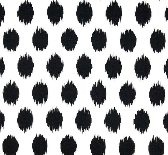 ikat dots black white designer home decor fabric by the yard cotton drapery or upholstery fabric contemporary black dot cotton fabric g218 from - Home Decor Fabrics By The Yard
