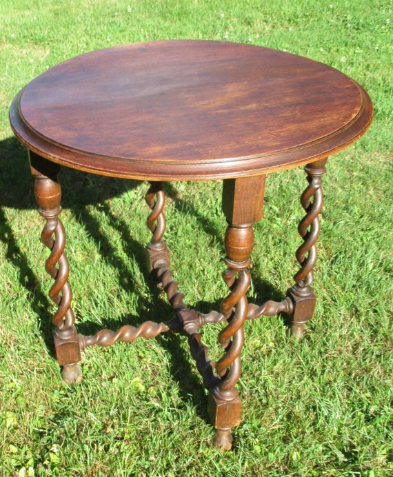 Antique Carved Wood Open Barley Twist Side Coffee Small Table