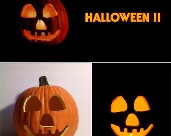 "HALLOWEEN II 1981 Jack-O'-Lantern Prop (Hand-Carved Foam Pumpkin 12"")"