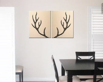 Deer Antlers  - Original Painting on Canvas, 16x20, Home Decor, Office Decor, Antler Silhouette, Living Room Decor