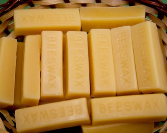 Bars of 100% pure American beeswax blocks (filtered)    Free shipping