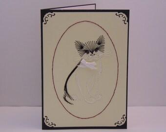 Black & White Cat Greeting Card