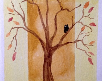 Owl in a tree Halloween, Autumn, Fall Harvest greeting card. For her, for him, all occasion,