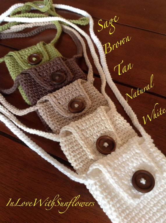 Crochet Cell Phone Purse : Cell phone purse - Crochet - Crossbody purse - Cell phone Bag - Gift ...