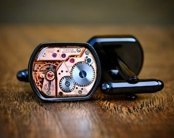 Omega Watch Movement Cufflinks - Black