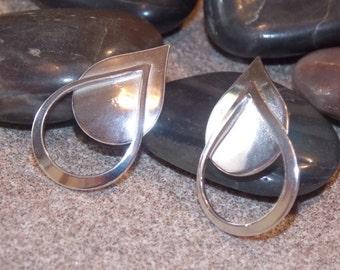 Solid silver large teardrop earrings