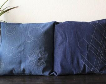 "Handmade Cushion Cover, Pillow Case, Denim, Japanese ""Sashiko"" style, unique, and simple"