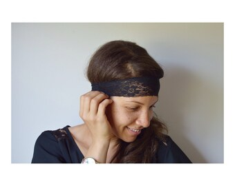 Ivory Lace Stretch Headbands Pair