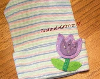 Newborn Hospital Pink, Blue, Mint Green and White Beanie w/ Purple Tulip & Green Leaves. Hospital Beanie. Simple and Sweet. Great Gift.CUTE!