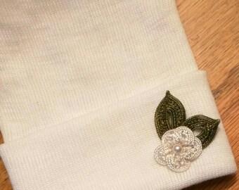 Newborn Hospital Hat w/ Handmade Crocheted Flower Applique Hospital Beanie. White Newborn Hats. Ivory Flower
