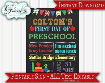 First Day Of School Sign, 1st Day Of School Sign, Back To School Sign, Editable PDF (personalize text with Adobe Reader), Printable Sign