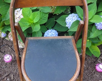 Antique Folding Chair/Two Antique Folding Chairs/Folding Chairs/Oak Folding Chairs/Oak Antique and Mohair Mortuary Chairs