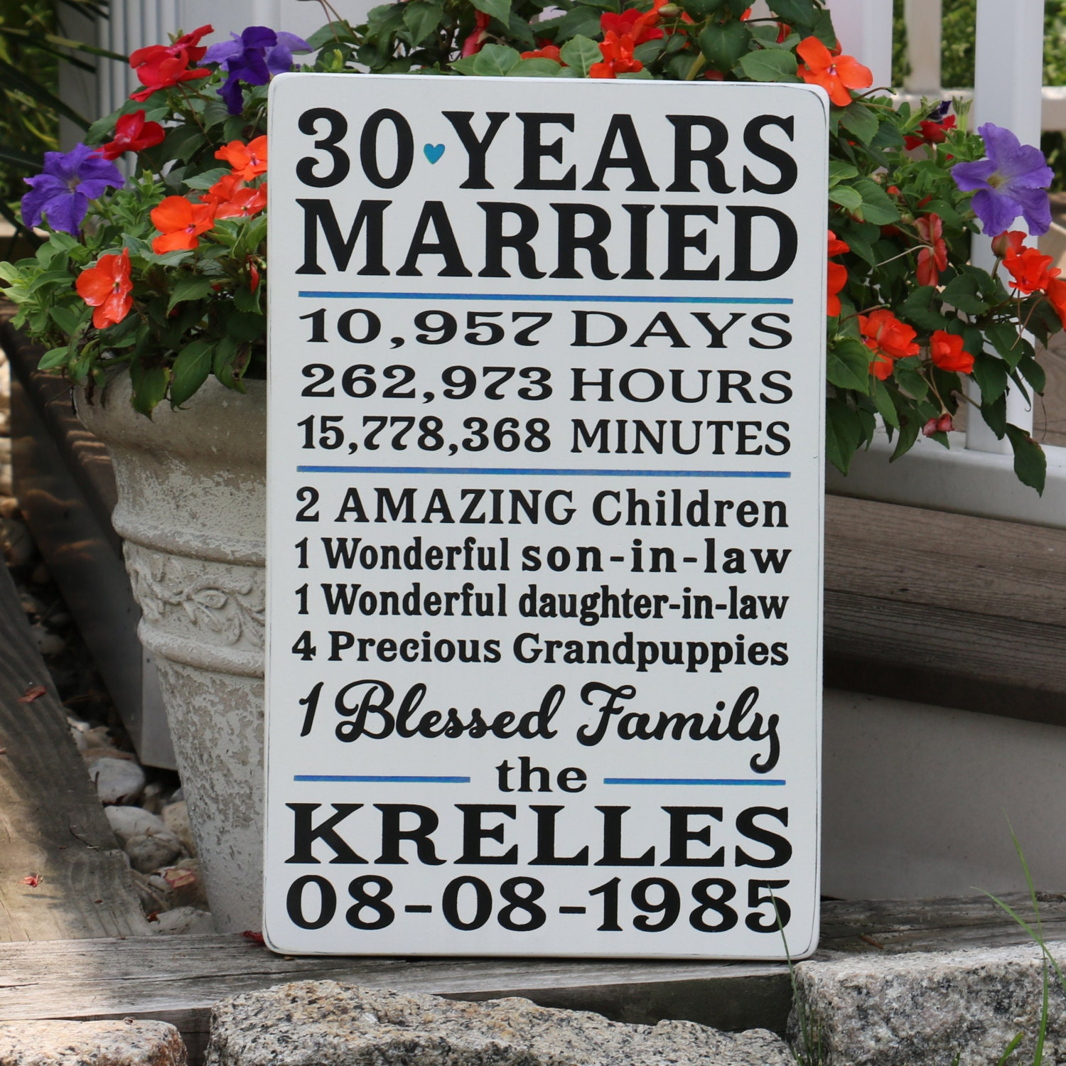 Wedding Anniversary Gifts 30 Years: Customized 30 Year Anniversary Sign With Wedding Date