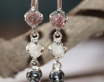 Natural Fancy Color rough Diamond Earring uncut Diamond raw diamond earring 925 silver Rustic diamond -conflict free Hand made Skull Earring