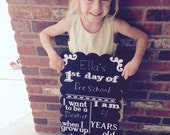 First day of school chalkboard; reusable chalkboard; ready to ship!