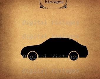 Car Automobile Silhouette Icon llustration Vintage Digital Image Download Printable Graphic Clip Art Prints HQ 300dpi svg jpg png
