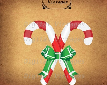 Candy Cane Color Christmas Royalty Free Illustration Vintage Antique Digital Image Download Printable Clip Art Print 300dpi svg jpg png