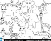 Outline safari animals- Digital Clipart, Clip Art Graphics, Personal Use, Commercial Use, Instant download - 21 images (00216)