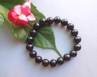 Shungite Bracelet Black bracelet Mens couples bracelet black beaded bracelet Men bracelet EMF protection Healing stone bracelets
