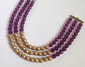 purple and gold color block necklace - beaded statement necklace -  statement necklace - bridesmaid necklace