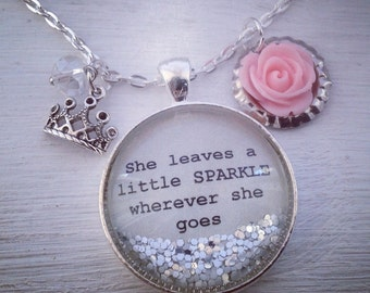 She leaves a little sparkle wherever she goes large (30mm) glitter necklace