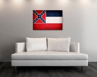 Vintage Mississippi Canvas Print, Mississippi Flag,  Mississippi Flag Art, Mississippi Wall Art, Wall Decor, State Poster, Decor [PP026-C]