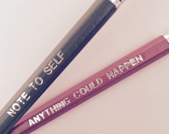Set of 2 - Pink and grey printed pencils