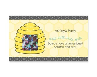 Honey Bee Shower Scratch Off Game - 22 Personalized Baby Shower, Birthday or Grandma-To-BEE Party Game Cards