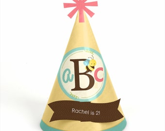 8 A is for Alphabet Birthday Party Hats - Personalized A is for Alphabet Birthday Party Supplies - Set of 8