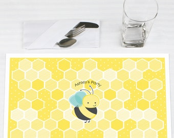 Set of 12 Honey Bee Placemats - Personalized Baby Shower, Birthday or Grandma-To-BEE Party Supplies