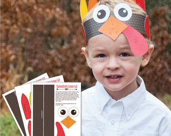 INSTANT DOWNLOAD - Thankful Turkey Hat - Thanksgiving Party Printable