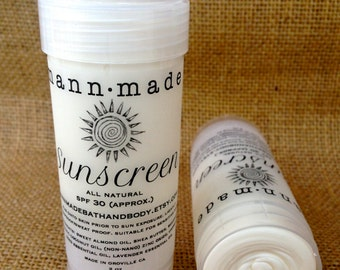 Sunscreen Stick, All Natural, SPF 30 Approx. - Non-Nano Zinc Oxide, Carrot Seed Essential Oil, Coconut Oil, 2oz