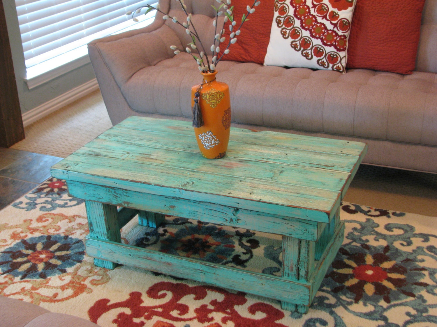 Rustic distressed coffee table with aqua color pop distressed zoom geotapseo Choice Image