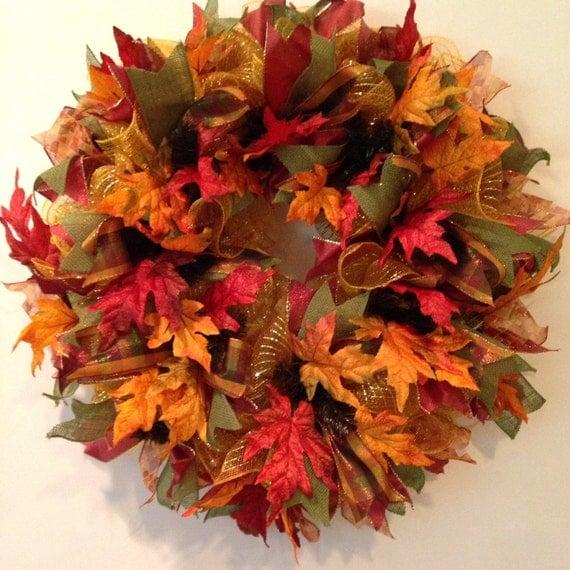 Fall Deco Mesh Wreath Fall Wreath Autumn Wreath Welcome