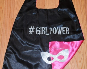 Girl Power Superhero Cape. Super Hero Cape for Girls in Pink and Black Reversible Cape with Glitter Mask!