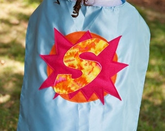 Capes for Children - Blue Pink Superhero Cape - Capes for Girl Super Heroes - Tie Dye Cape - Girls Capes - Quick Shipping