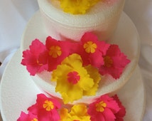 Luau flower cake topper 15pcs Hawaiian cake toppers Hibiscus Flower set edible fondant decorations wedding birthday Easter chic tropical