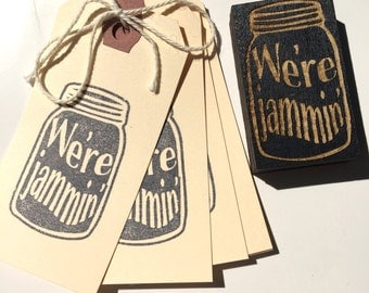 Canning stamp, we're jammin rubber stamp, mason jar canning stamp, mason jar stamp, jam stamp