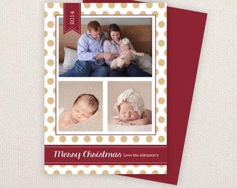 INSTANT DOWNLOAD: Christmas Card Template - Gold glitter spots. Traditional