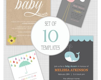 INSTANT DOWNLOAD: 10 PSD Baby Shower Templates. Mixed designs. Mini Pack 24.