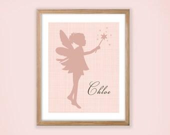 Printable Personalized Nursery Wall Art. Fairy Silhouette.