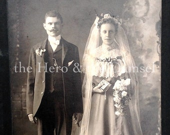 Bride & Groom // Edwardian bride and groom antique wedding cabinet card // Old wedding photo, veil, bible, rosary, flower headdress, cigar
