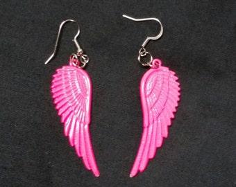 Hot pink angel wings earrings