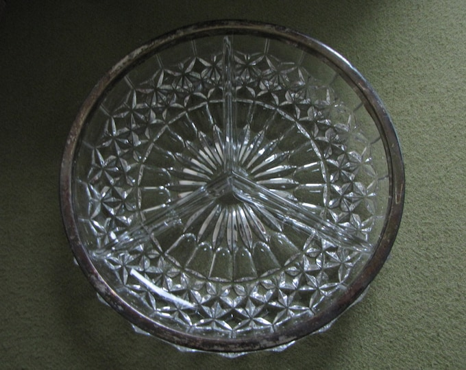 Vintage Crystal Relish Dish Trimmed in Silver Diamond Pattern