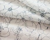Simple Flower Pattern Linen Blended Fabric by Yard - 2 Colors Selection