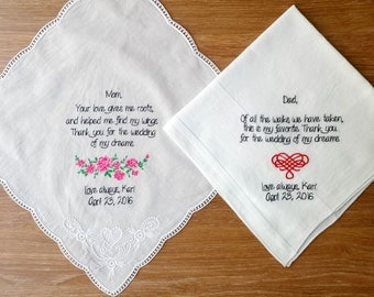 Set of Two!  Personalised wedding handkerchief! Custom embroidered wedding hankie including: Your love gives me roots saying! 2 mom gift!