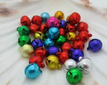 Jingle Bell Beads, Metal Christmas Bells, 10mm, Multicolored Jingle Bells