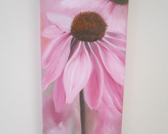 Pink Echinacea, original painting, oil painting, birthday gift, wife gift, daughter gift, flower painting, anniversary gift, painting