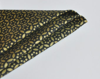 Wedding Pocket Square. Gold Pocket Square. Black Gold Handkerchief. Linen Pocket Square.